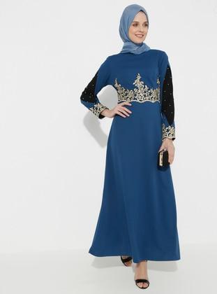 Blue - Navy Blue - Indigo - Unlined - Polo neck - Muslim Evening Dress
