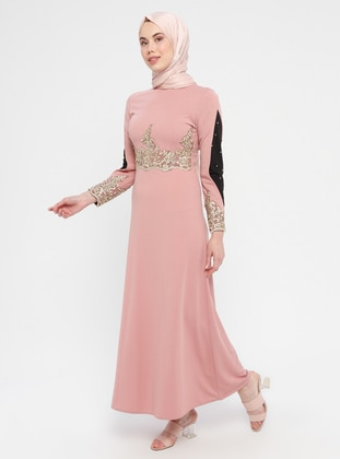 Powder - Unlined - Polo neck - Muslim Evening Dress