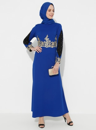Saxe - Unlined - Polo neck - Muslim Evening Dress