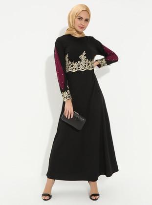 Black - Unlined - Polo neck - Muslim Evening Dress