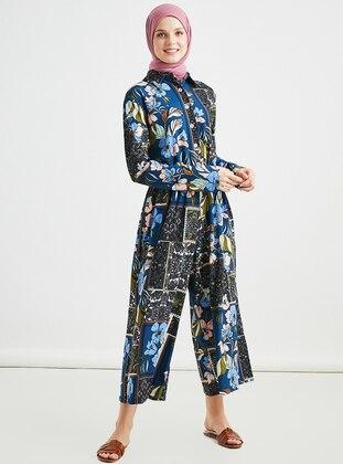 Indigo - Multi - Button Collar - Jumpsuit