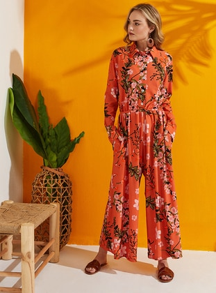 Coral - Multi - Button Collar - Jumpsuit