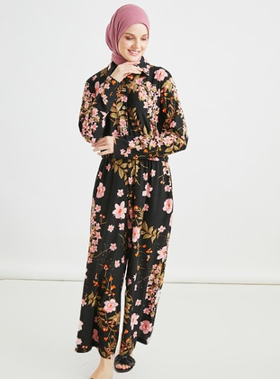 Black - Multi - Button Collar - Jumpsuit
