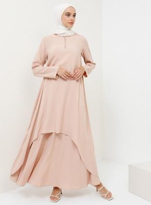 Pink - Salmon - Hac ve Umre - Unlined - Cotton - Suit