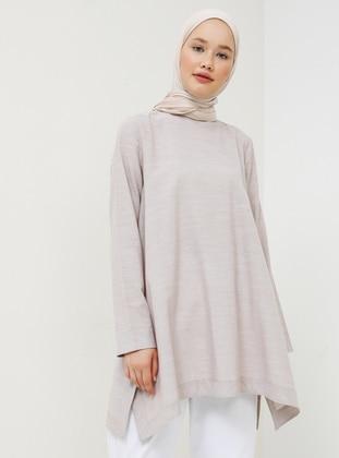 Beige - Crew neck - Cotton - Tunic