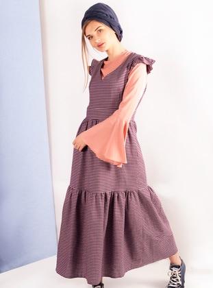Purple - Plaid - V neck Collar - Unlined - Cotton - Dress