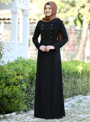 Black - Round Collar - Fully Lined - Dress