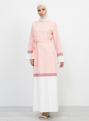 Pink - Crew neck - Fully Lined - Cotton - Dress