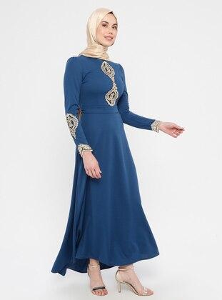 Blue - Indigo - Unlined - Crew neck - Muslim Evening Dress