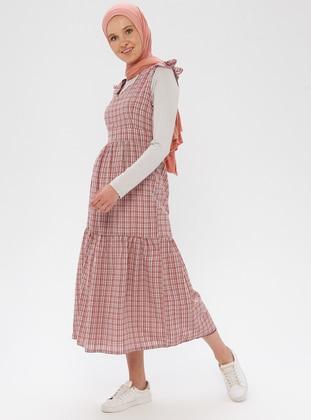 Beige - Checkered - Crew neck - Unlined - Viscose - Dress