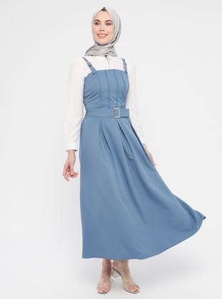 Blue - Navy Blue - Indigo - Unlined - Cotton - Dress
