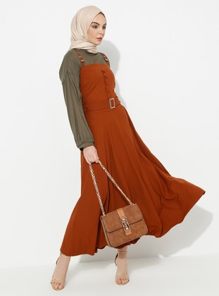 Tan - Unlined - Cotton - Dress