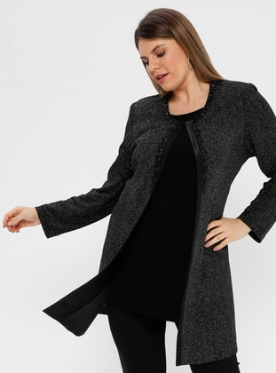 Anthracite - Crew neck - Half Lined - Plus Size Evening Suit