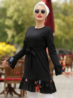Black - Coral - Floral - Crew neck - Tunic