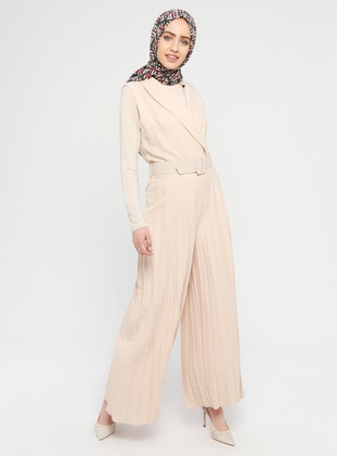 Beige - Unlined - Shawl Collar - Cotton - Viscose - Jumpsuit