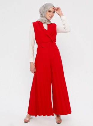Red - Unlined - Shawl Collar - Cotton - Viscose - Jumpsuit