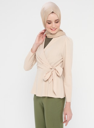 Beige - Shawl Collar - Cotton - Viscose - Blouses