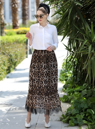 Leopard - Leopard - Fully Lined - Cotton - Skirt