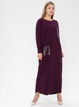 Plum - Unlined - Crew neck - Muslim Plus Size Evening Dress