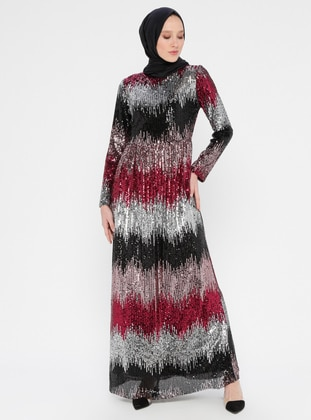 Black - Cherry - Fully Lined - Crew neck - Muslim Evening Dress