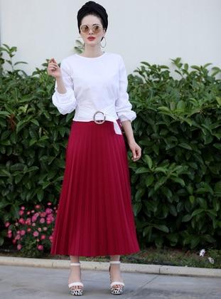 Fuchsia - Unlined - Cotton - Skirt