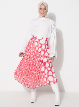 Fuchsia - Geometric - Fully Lined - Skirt