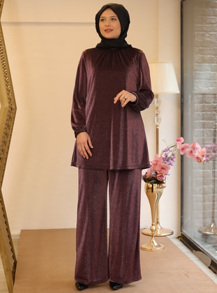 Plum - Crew neck - Fully Lined - Plus Size Evening Suit