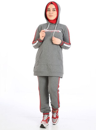 Anthracite - Cotton - Combed Cotton - Tracksuit Set