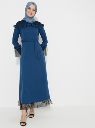 Blue - Indigo - Unlined - Crew neck - Muslim Evening Dress