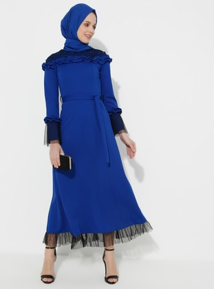 Saxe - Unlined - Crew neck - Muslim Evening Dress