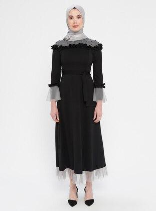 Black - Gray - Unlined - Crew neck - Muslim Evening Dress