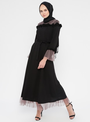 Black - Mink - Unlined - Crew neck - Muslim Evening Dress