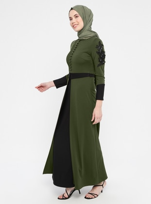 Khaki - Unlined - Polo neck - Muslim Evening Dress