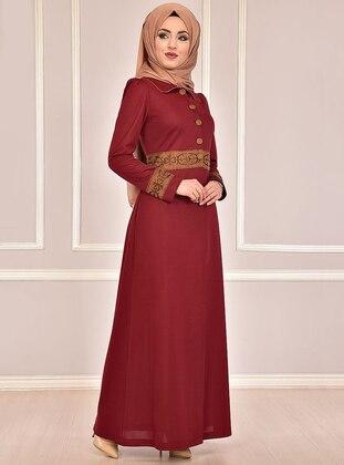 Maroon - Fully Lined - Round Collar - Abaya