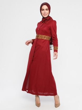Maroon - Fully Lined - Round Collar - Abaya