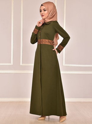Khaki - Fully Lined - Round Collar - Abaya
