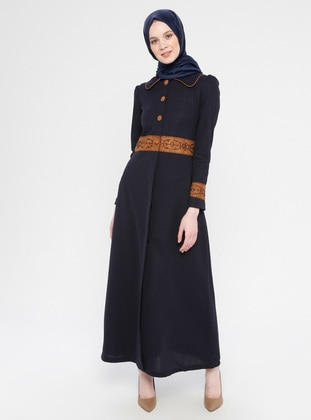 Navy Blue - Fully Lined - Round Collar - Abaya