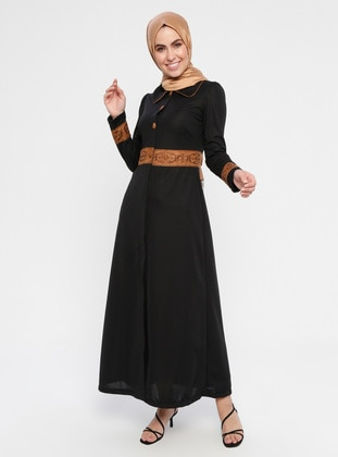Black - Fully Lined - Round Collar - Abaya