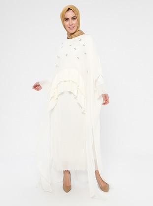 White - Ecru - Crew neck - Fully Lined - Muslim Evening Dress