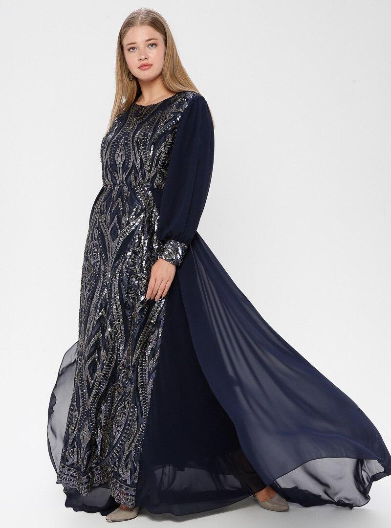 Tesettür Büyük Beden Abiye Elbise Arıkan Lacivert Kadın 46