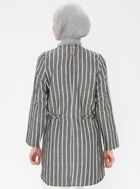 Black - Stripe - Polo neck -  - Tunic