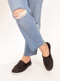 Black - Casual - Flat Shoes - AKER
