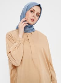 Beige - Button Collar - Point Collar - Cotton - Tunic