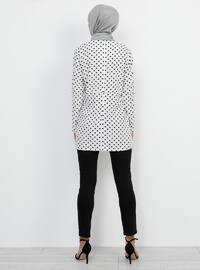 Black - White - Ecru - Polka Dot - Crew neck - Viscose - Tunic