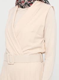 Beige - Unlined - Shawl Collar - Cotton - Viscose - Jumpsuit