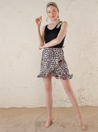 Black - Leopard - Half Covered Switsuits