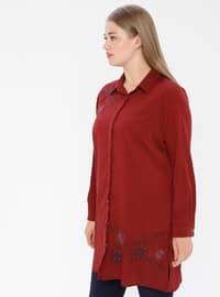 Maroon - Point Collar - Viscose - Plus Size Tunic