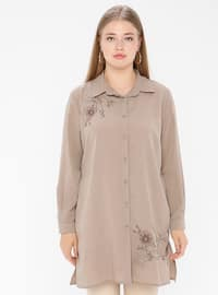 Mink - Point Collar - Viscose - Plus Size Tunic