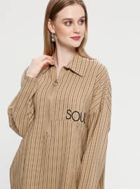 Beige - Stripe - Point Collar - Tunic