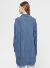 Indigo - Stripe - Point Collar - Tunic